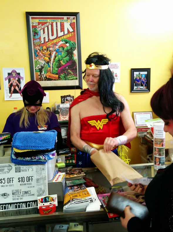 Batgirl and Wonder Woman teaming up at Mostly Comics