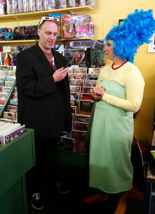 JStew interviewing Marge/Bev at Mostly Comics